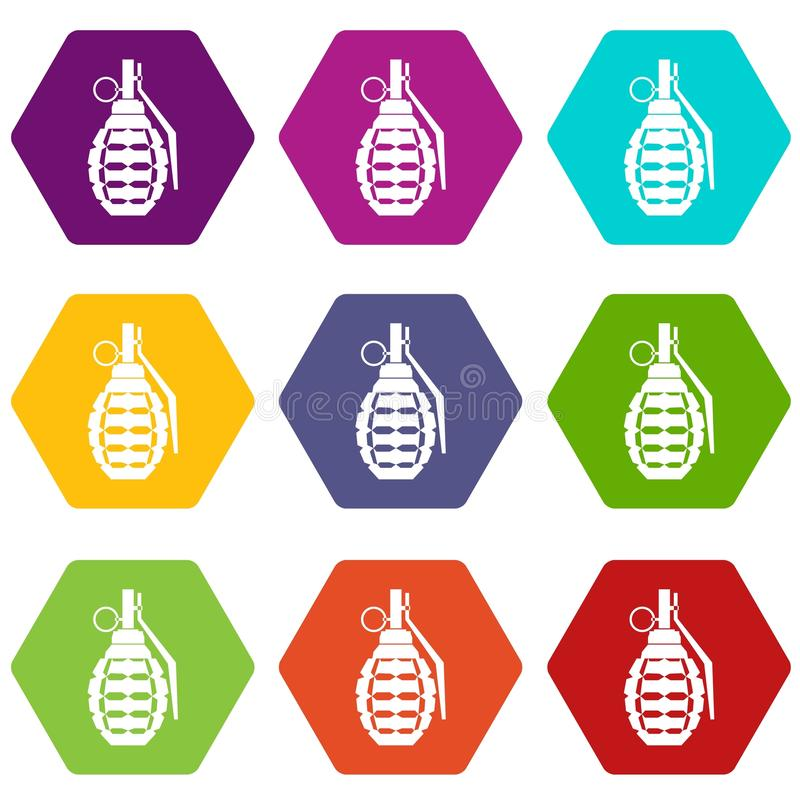 Hand grenade, bomb explosion icon set color hexahedron vector illustration