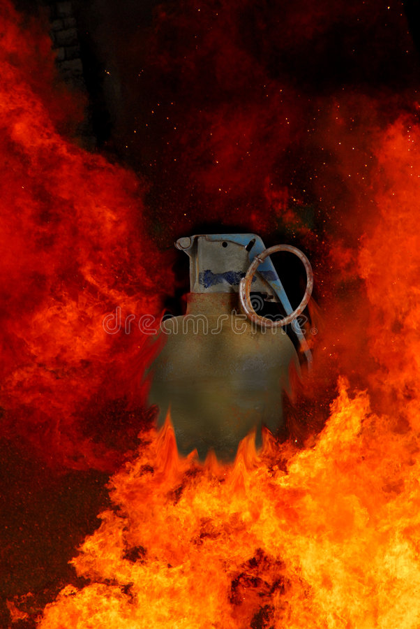 Hand Grenade Explosion stock photography