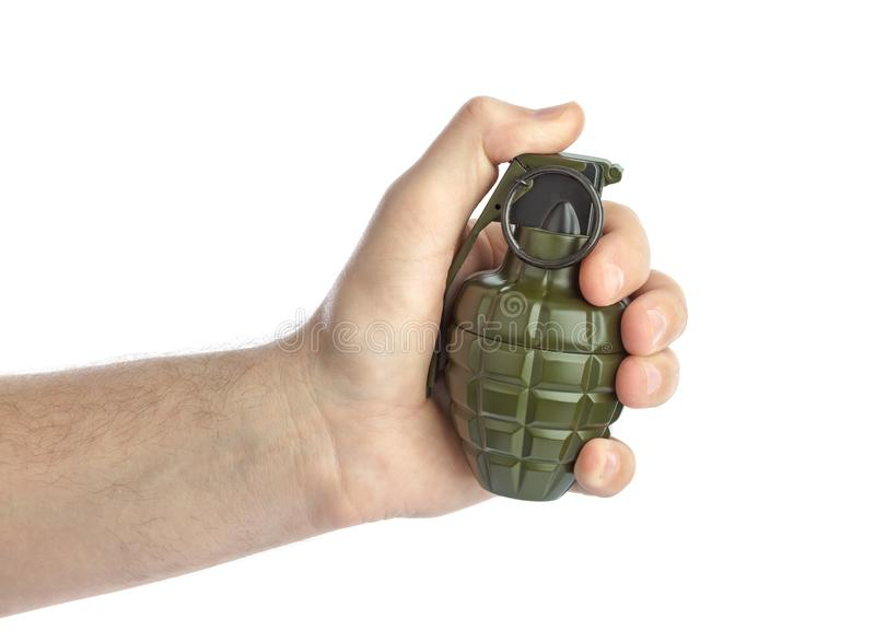 Hand with grenade stock photo