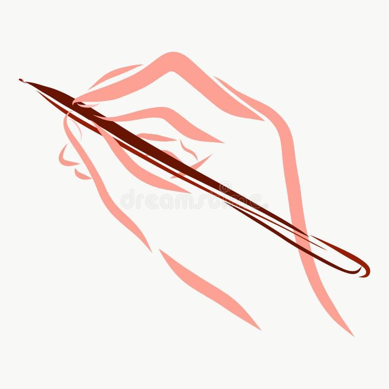 Hand, Griffe der Stift und schreibt lizenzfreie abbildung