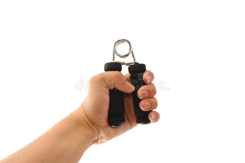 Hand grip exercise. Man doing hand grip exercise royalty free stock photography