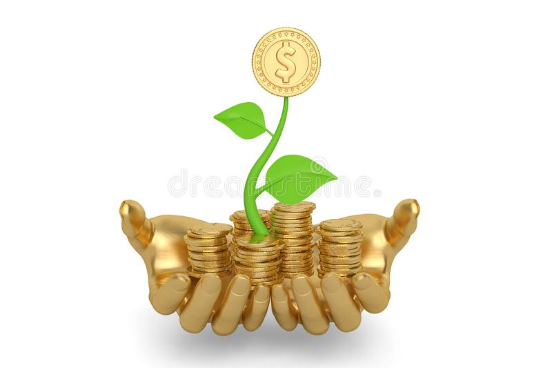 Hand and growing gold coin stacks.3D illustration. Hand and growing gold coin stacks. 3D illustration vector illustration