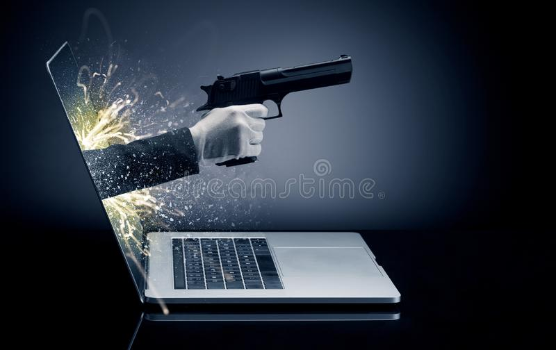 Hand with gun coming out of a laptop stock illustration