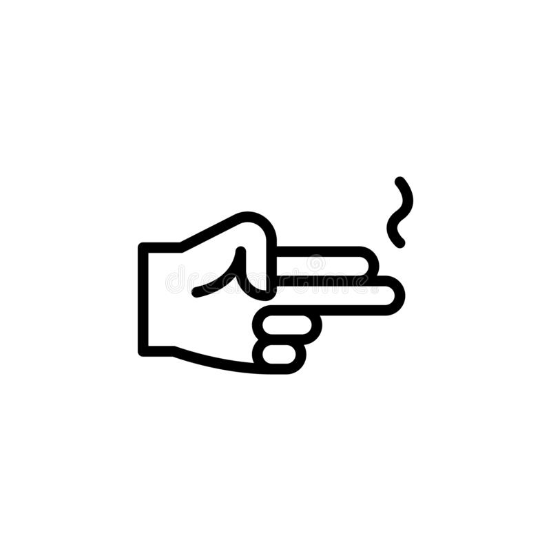 Hand gun gesture outline icon. Element of hand gesture illustration icon. signs, symbols can be used for web, logo, mobile app, UI. UX on white background stock photo