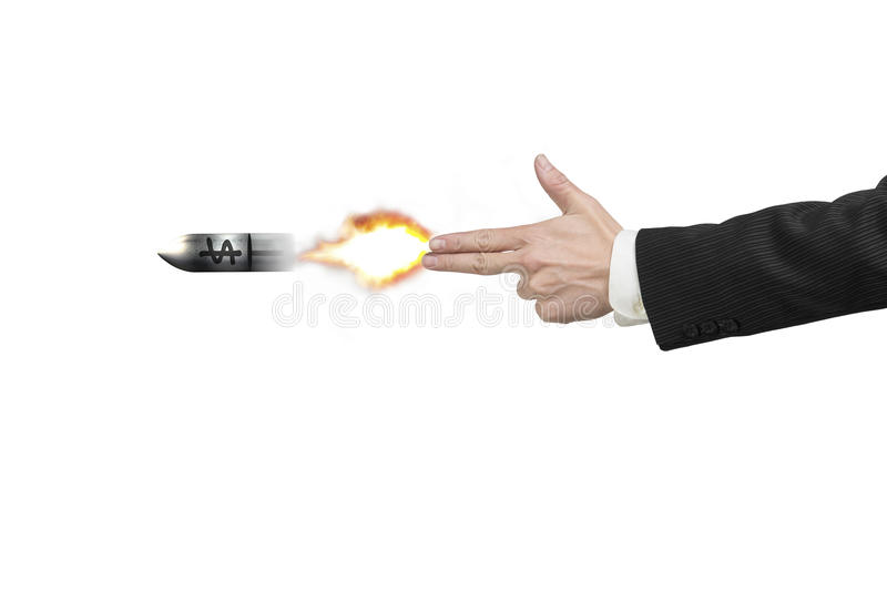 Hand gun gesture shooting a bullet with money symbol royalty free stock photo