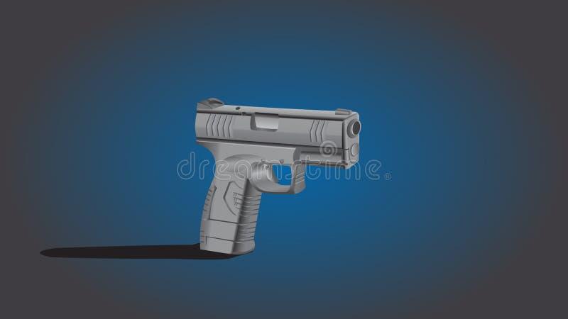 Hand Gun. /Pistol cartoon illustration in gradient background stock illustration