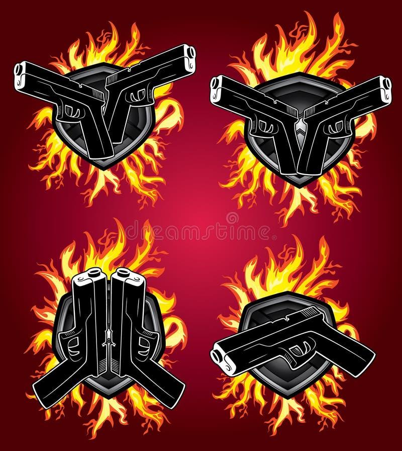 Hand Gun Pistol Glock Fire Element Design Stock Illustration