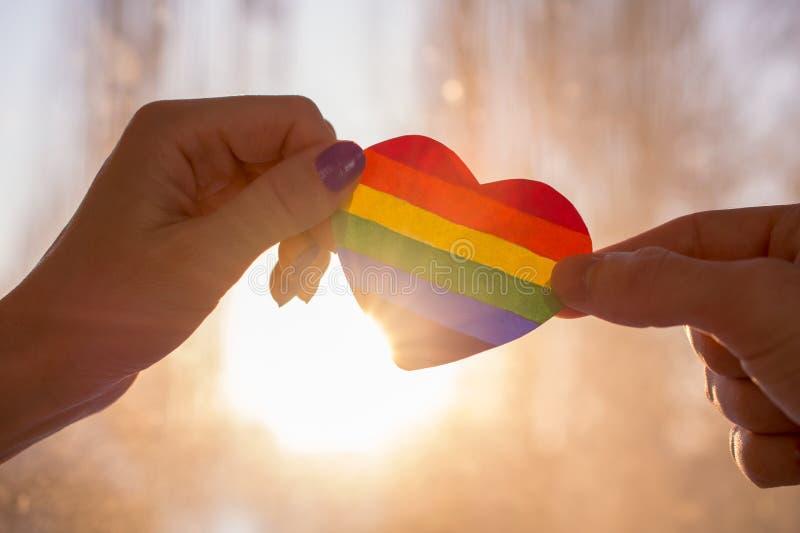 Hand h?lt ein Herz gemalt wie eine LGBT-Flagge lizenzfreie stockbilder