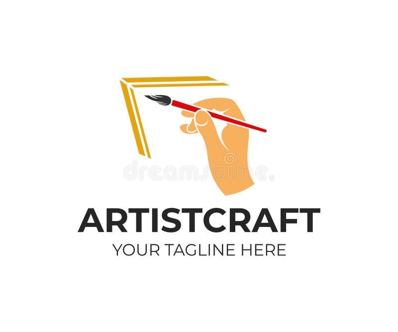 Hand hält eine Kunstbürste, Künstlerfarbenbild, Logodesign Zeichnung, Kunst, Kreativität und Inspiration, Vektordesign vektor abbildung