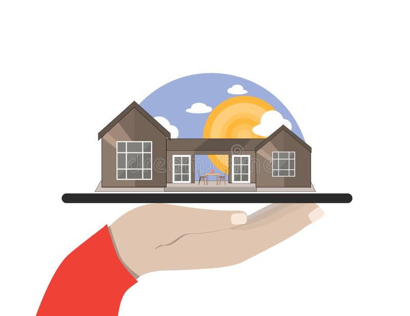 Hand hält eine Tablette mit Seeseite, Gebirgsseitensommer-Landschaft mit Haus Flache Illustration stock abbildung