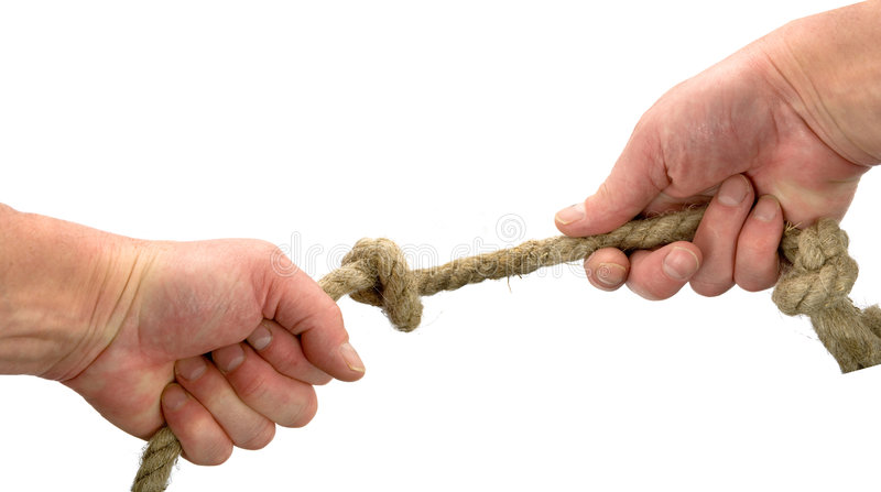 Hand hält Seil mit Knotenpunkt lizenzfreies stockfoto