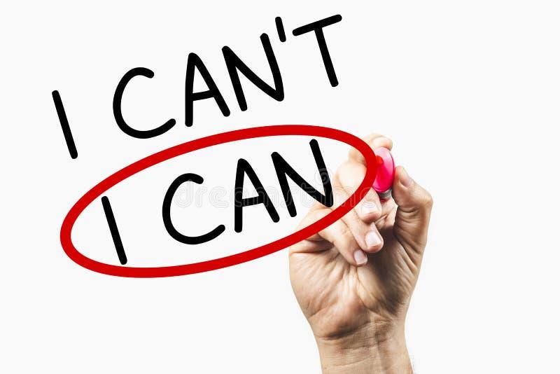 Hand halten Rote Marker Zeichenkreis um das Wort I Can - Motivation Concept - Can oder Can& x27;t lizenzfreie stockfotos