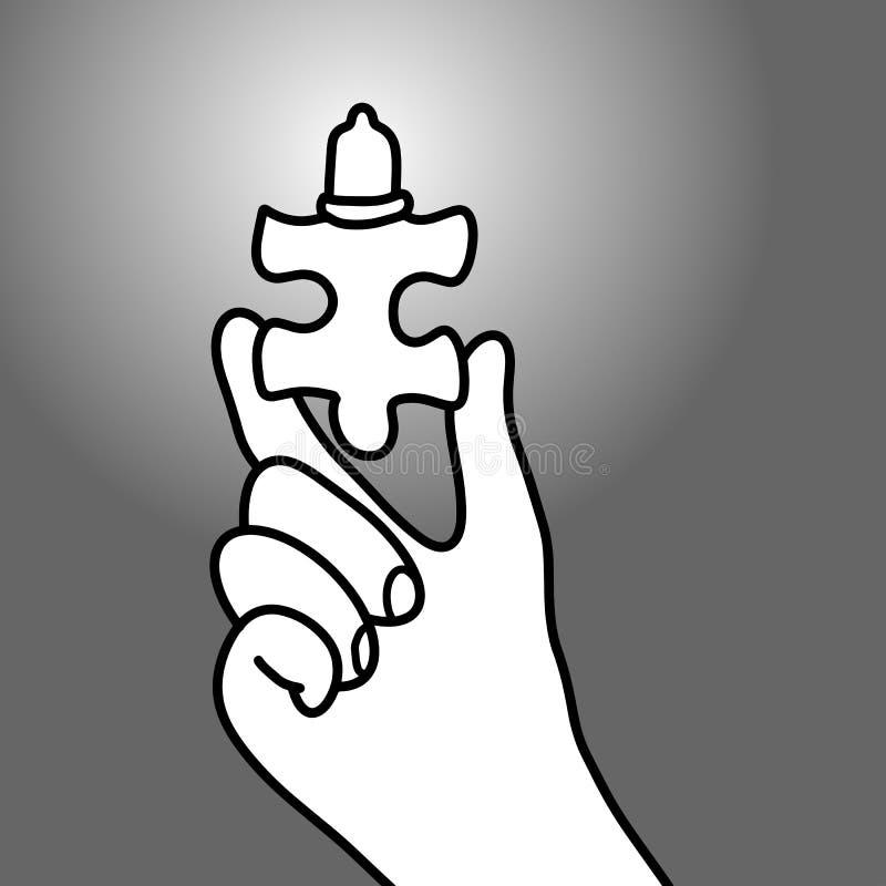 Hand halten zackig mit Kondomvektorillustrations-Gekritzel sketc stock abbildung