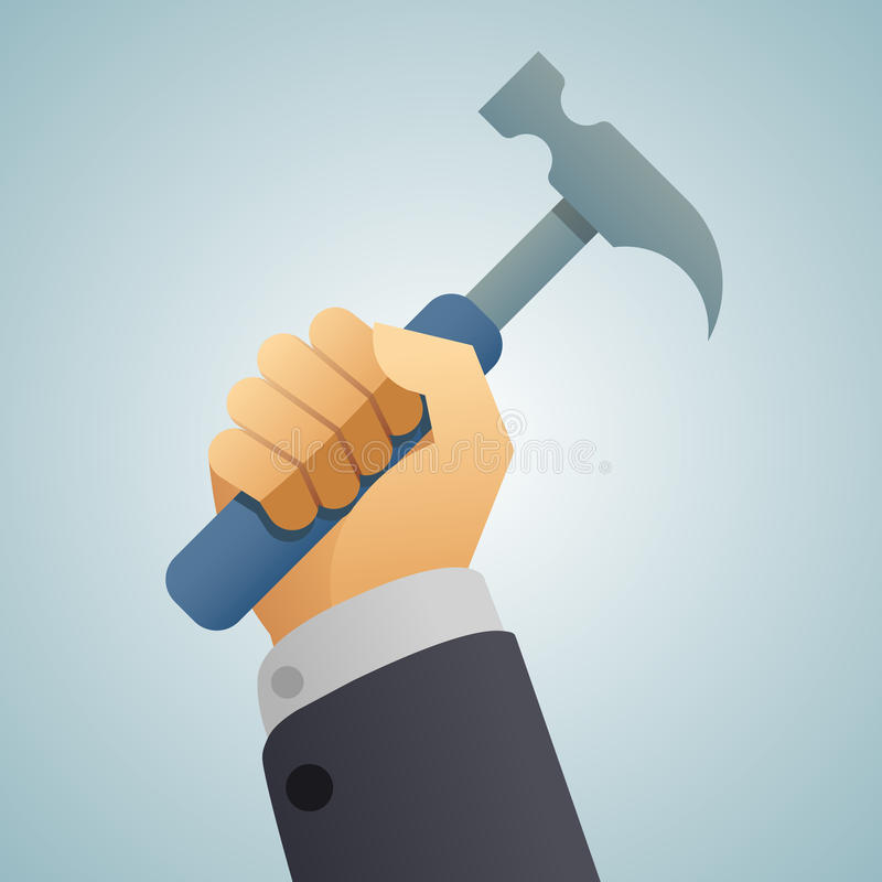 Hand hammer icon royalty free illustration
