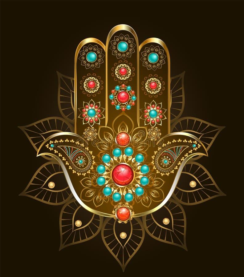 Hand Hamsa med turkos på brun bakgrund royaltyfri illustrationer