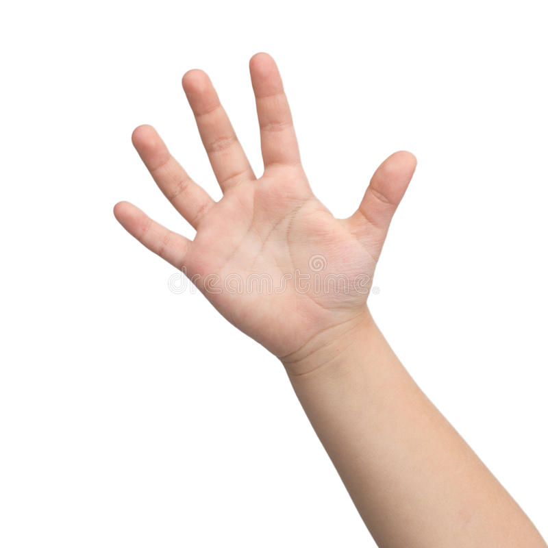 Hand. Hand av ett barn. arkivfoto