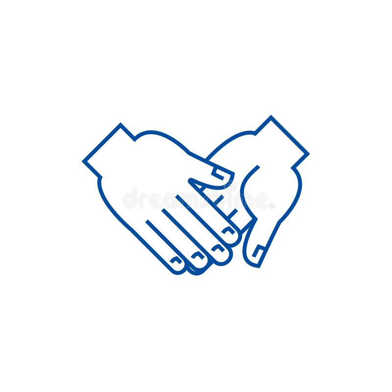 Hand in hand line icon concept. Hand in hand flat  vector symbol, sign, outline illustration. Hand in hand line concept icon. Hand in hand flat  vector website stock illustration