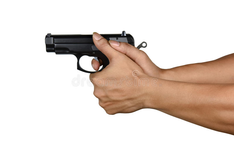 A hand with handgun wrong thumb gripping style. A hand with handgun wrong gripping thumb style Isolated on white background, gripping may cause injurious for royalty free stock images