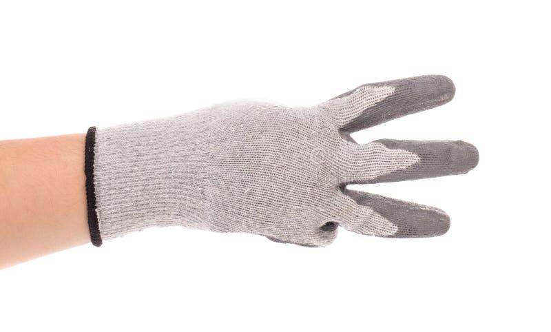 Hand in Handschuhshows drei lizenzfreie stockfotos
