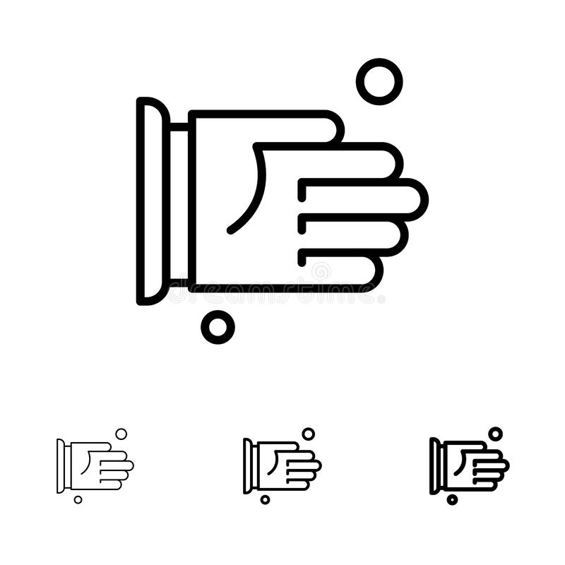 Hand, Handshake, Agreement, Office Bold and thin black line icon set stock illustration