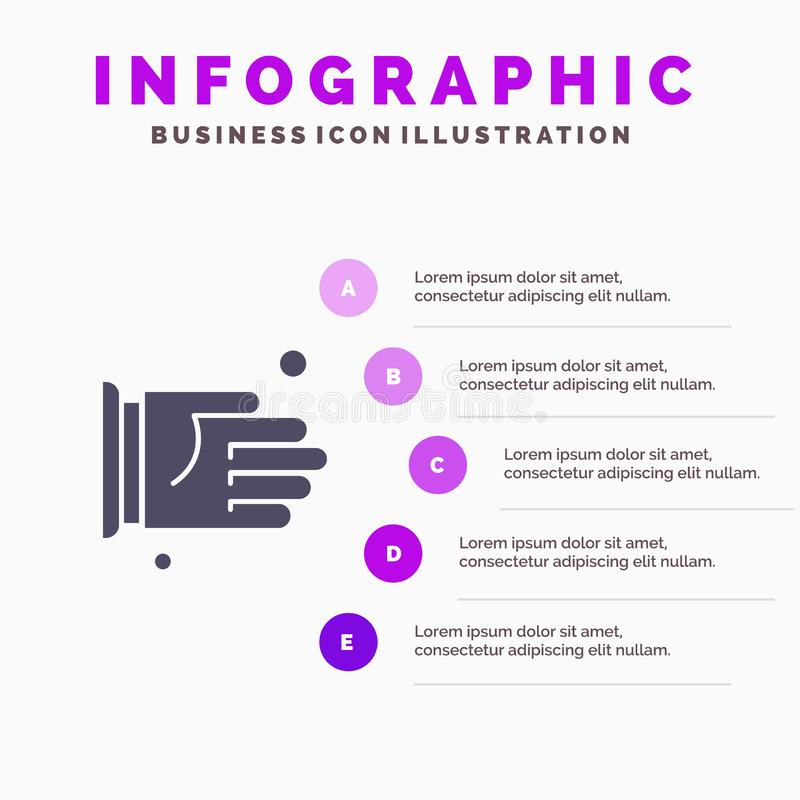 Hand, Handshake, Agreement, Office Solid Icon Infographics 5 Steps Presentation Background stock illustration