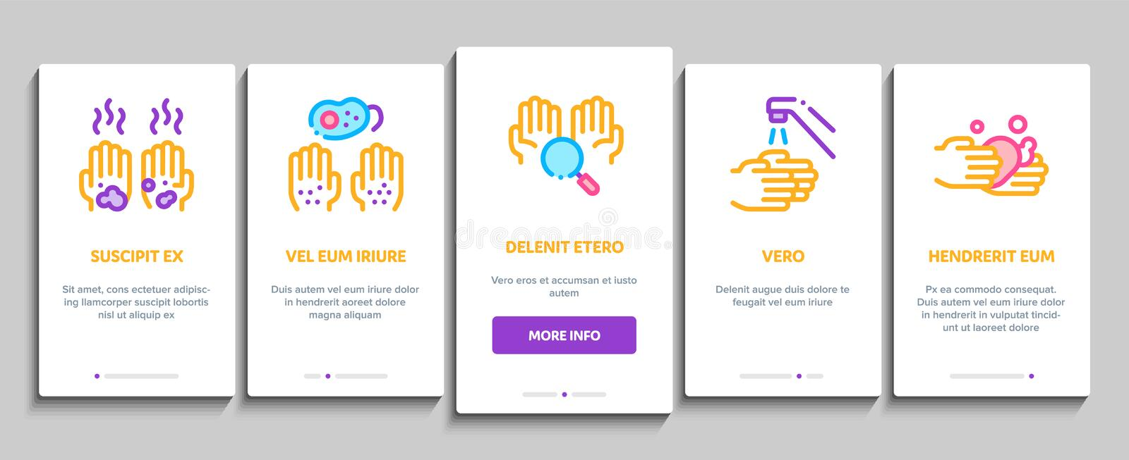 Hand Healthy Hygiene Onboarding Elements Icons Set Vector 皇族释放例证