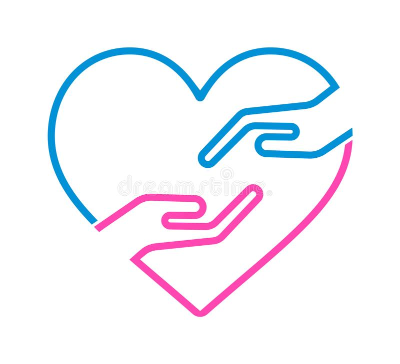 Hand with heart icon. Hand and heart sign. simple vector blue and pink color icon isolated on white background. heart with helping hands concept vector illustration
