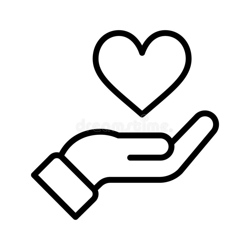 Hand with heart icon royalty free illustration