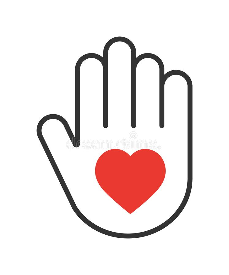 Hand with heart icon. Simple vector filled flat hand with red heart icon solid pictogram isolated on white background. adopt a child concept vector illustration