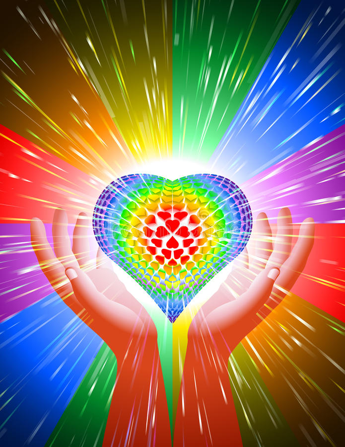 Hand Heart Light Beam Magic Power Love Background Rainbow LGBT royalty free illustration