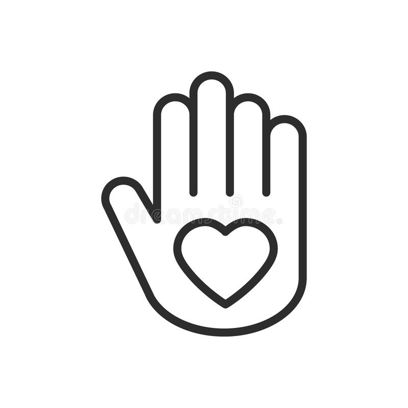 Hand with heart line icon. Love relationship peace charity volunteer help care protection support theme. Peace sign and. Symbol stock illustration