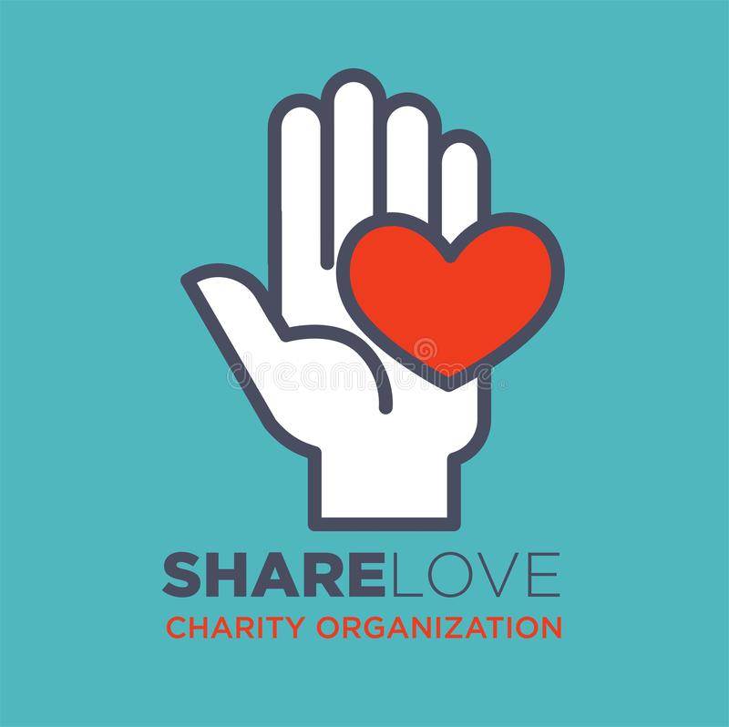 Hand and heart social love and charity organization concept vector flat icon. Hand and heart logo template for social donation and charity action organization vector illustration