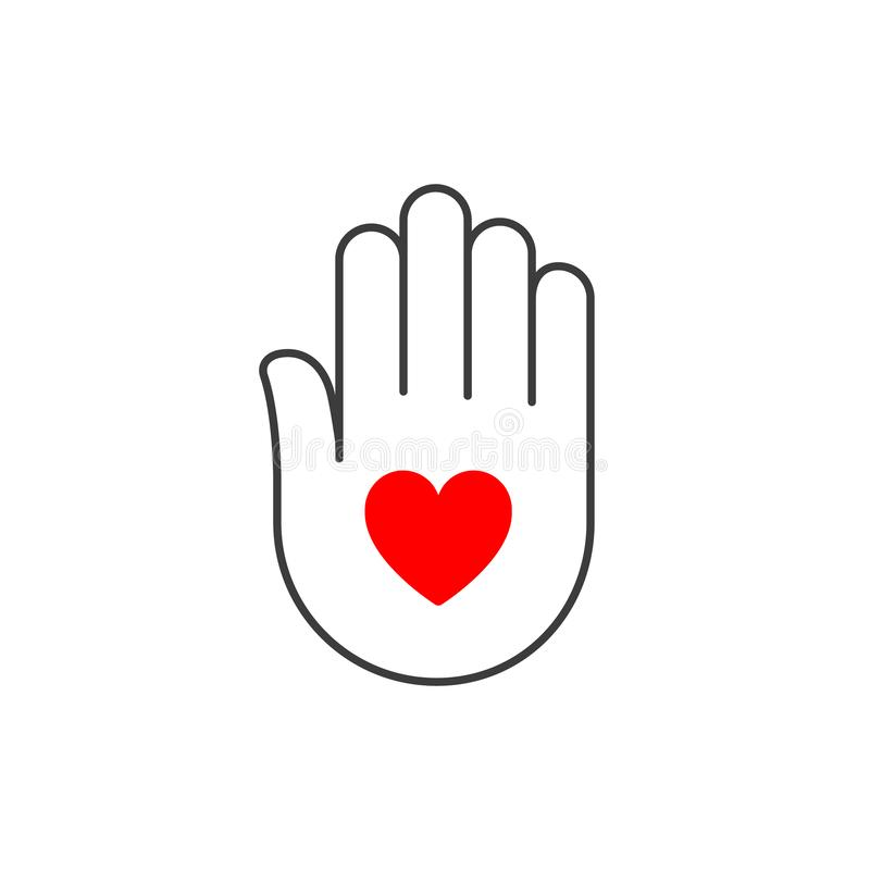 Hand with heart vector outline icon, help care concept, palm logo symbol, flat design isolated on white.  royalty free illustration