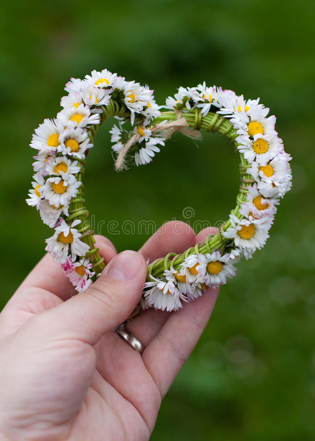 Download Hand with heart wreath stock image. Image of flower, amour - 22885303