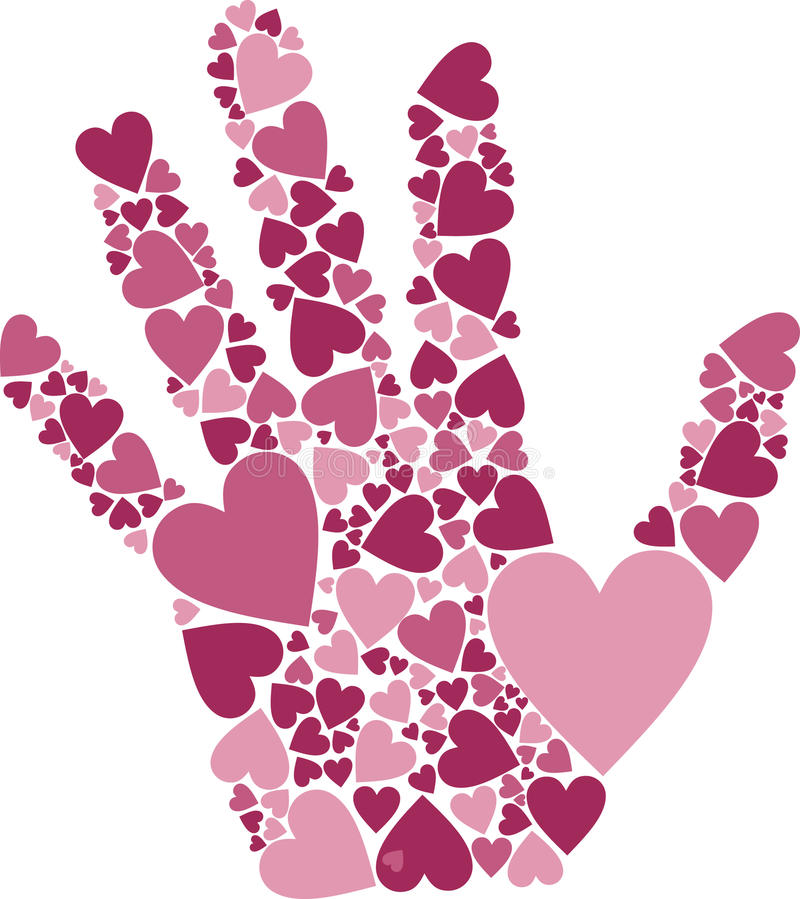 Hand of Hearts. Vector Illustration of Hand of Hearts symbol for love affection