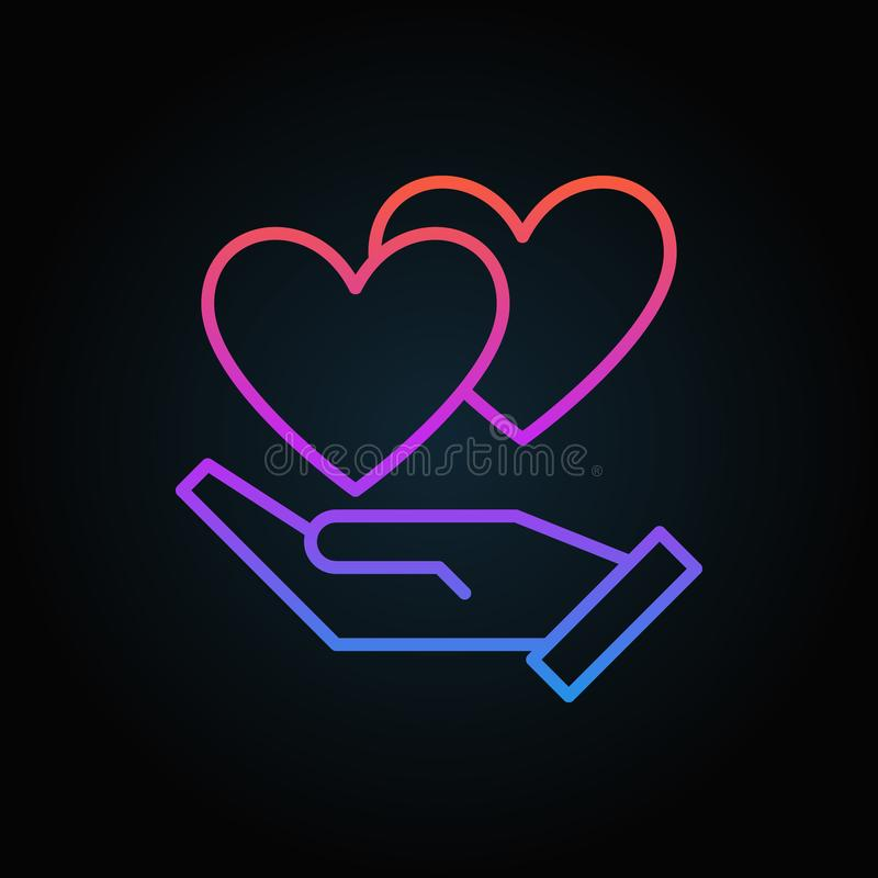 Hand with hearts vector colored icon in thin line style royalty free illustration