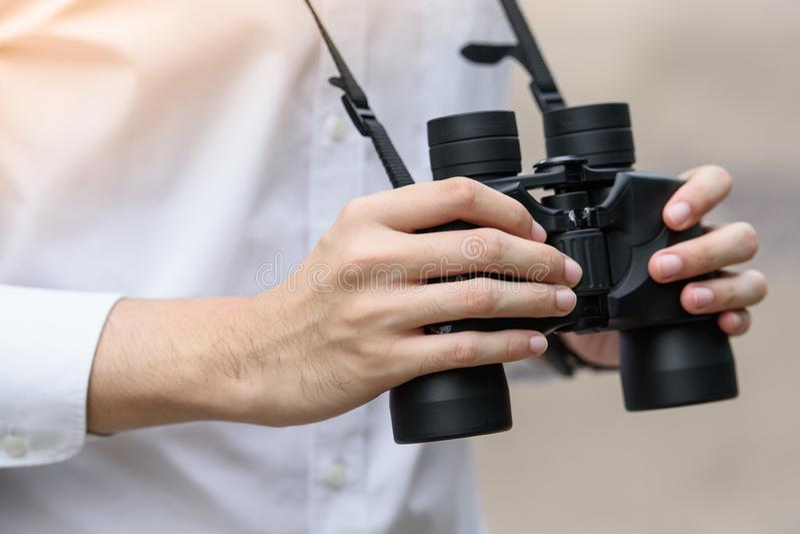 Hand held binoculars stock photos