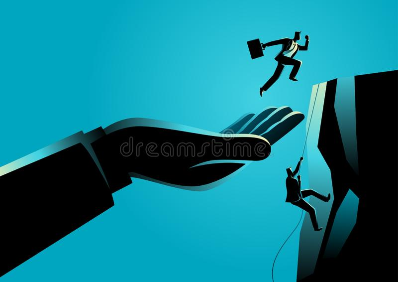 Hand helping a businessman to reach higher platform. Business concept vector illustration of a hand helping a businessman to reach higher platform royalty free illustration