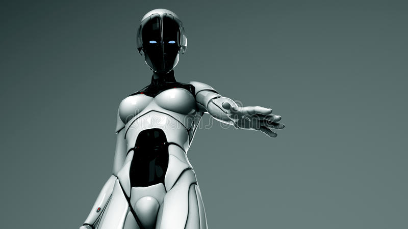 hand henne rymmer ut roboten till kvinnan dig stock illustrationer