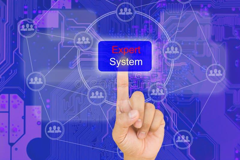 Hand het drukken knoop op interface met blauwe PCB bord backgroun royalty-vrije stock afbeelding