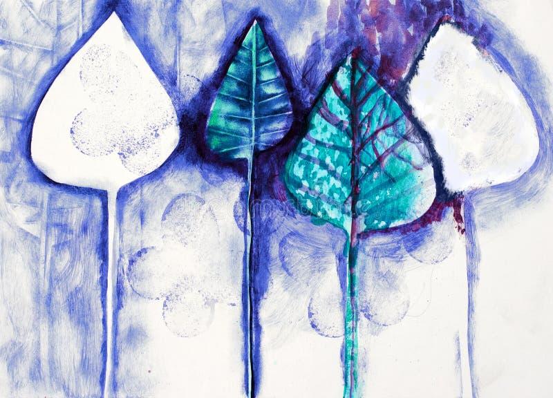 Hand het geschilderde schilderen van gestileerde bomen, simil royalty-vrije stock afbeelding