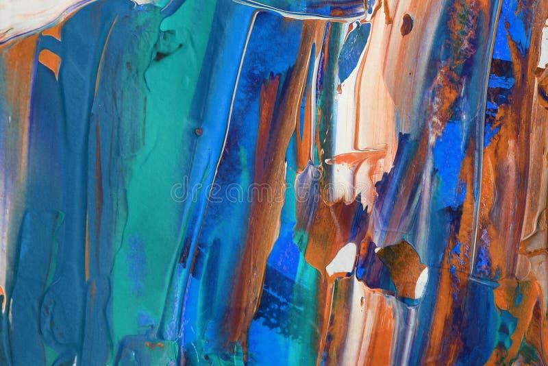 Hand het getrokken acryl schilderen Abstracte kunstachtergrond Het acryl schilderen op canvas Kleurentextuur Fragment van kunstwe stock illustratie