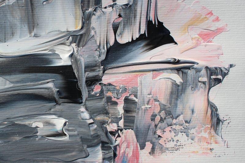 Hand het getrokken acryl schilderen Abstracte kunstachtergrond Het acryl schilderen op canvas Kleurentextuur penseelstreken vector illustratie