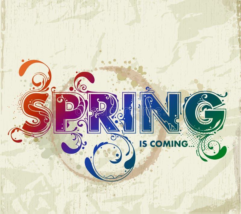 Hand het getrokken de lente van letters voorzien stock illustratie