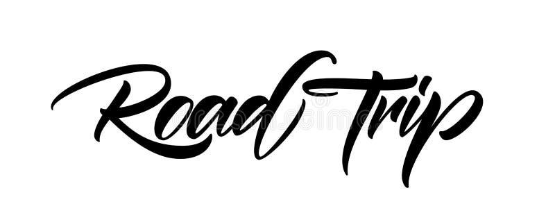 Hand het getrokken die borstel van letters voorzien van Wegreis op witte achtergrond wordt geïsoleerd royalty-vrije illustratie