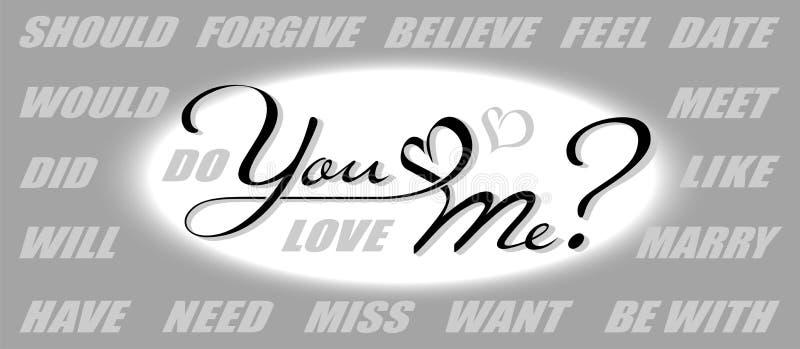 Hand het getrokken kalligrafie van letters voorzien met exemplaarruimte Aannemer van vragen: Houdt u van me? Zult u me huwen? Mis royalty-vrije illustratie