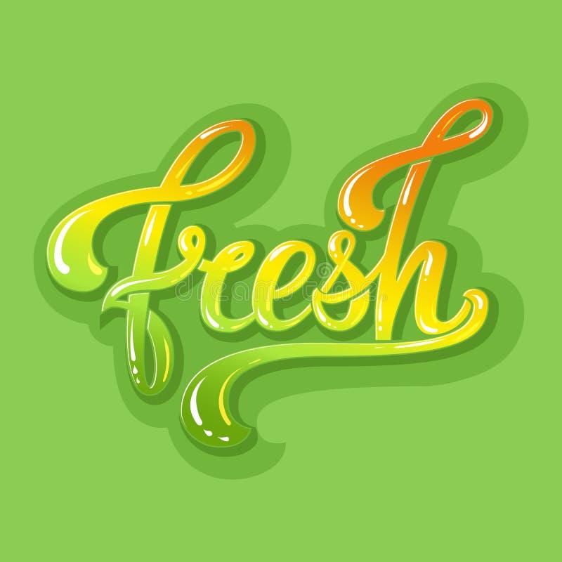 Hand het getrokken kleurrijke Vers van letters voorzien Vectorinktillustratie Typografieaffiche op groene achtergrond Organisch,  vector illustratie