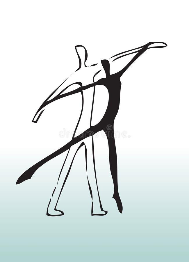 Hand het getrokken paar dansen royalty-vrije illustratie