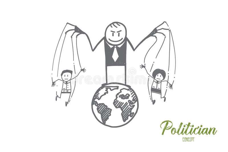 Hand het getrokken politicus spelen met mensen als speelgoed royalty-vrije illustratie