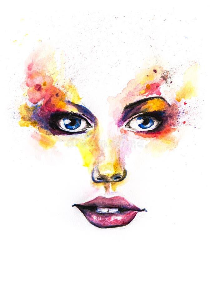 Hand het getrokken schilderen die van een mooi vrouwen` s gezicht, hij benadrukken royalty-vrije illustratie